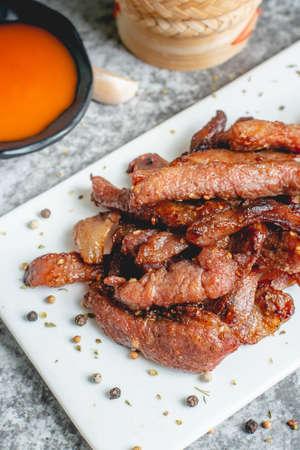 deep fried sun-dried pork (Moo dad deaw), Thai food 스톡 콘텐츠