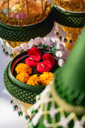 Thailand traditional wedding ceremony tray of wedding gifts