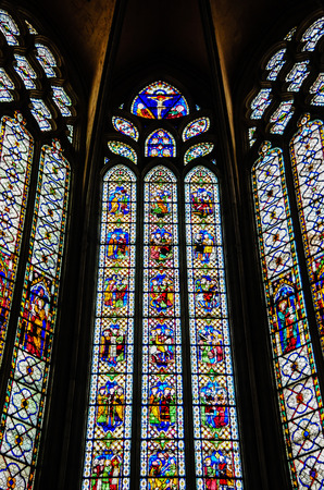 stained glass windows: Stained Glass Windows, Narbonne Cathedral, France