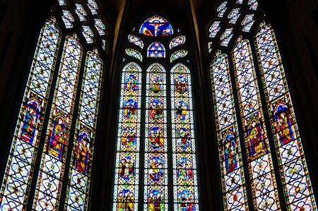 triptych: Stained Glass Windows, Narbonne Cathedral, France