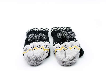 the warmth: black grey gloves made from yarn is comfort and warmth