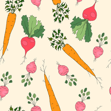 Hand drawn seamless pattern with radish, carrot and beet isolated on light background. Farm vegetables illustration, healthy food, organic.
