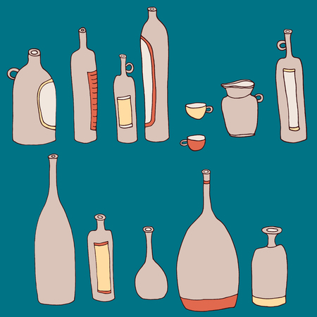 Vectorcard with set of different wine bottles, cups ang jug. Hand-drawn Georgian style for menu.