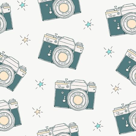 Seamless pattern with vector retro hand drawn hipster photo camera and stars. Vintage illustration for design, print for t-shirt, poster, card.