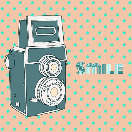 Vector retro hand drawn hipster photo camera isolated on polka dot background. Vintage illustration for design, print for t-shirt, poster, card. Illustration