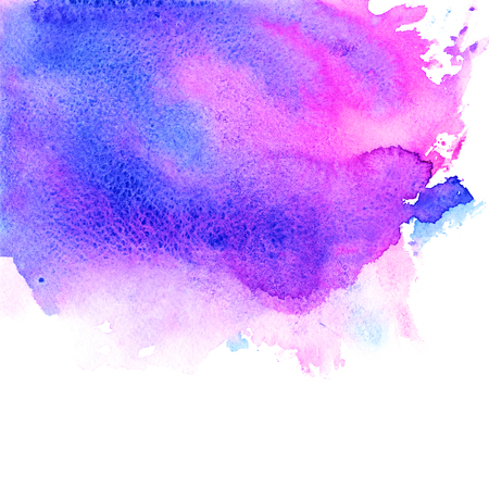 Violet, pink, purple, magenta and blue watercolor texture hand paint on white background. Abstract art for design.