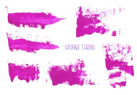 Set of magenta, purple, pink, lilac watercolor hand painting brush stroke textures. Collection of grunge design elements isolated on white background. Gouache, acrylic art abstract illustration. Stock Photo