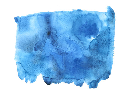 Blue watercolor abstract hand paint texture with stains and spots on white background. Illustration art for creative design.