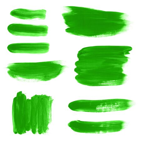 Set of green watercolor hand painted texture backgrounds isolated on white. Abstract collection of acrylic dry brush strokes, stains, spots, blots, lines. Creative grunge frame, illustration, drawing.