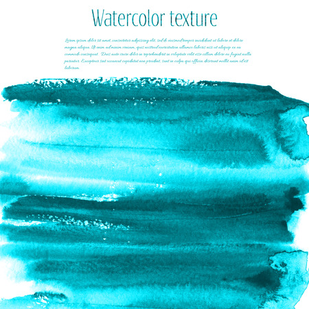 Turquoise blue watercolor texture background with dry brush stains, strokes and spots isolated on white. Abstract artistic frame, place for text or logo. Acrylic hand painted gradient backdrop.