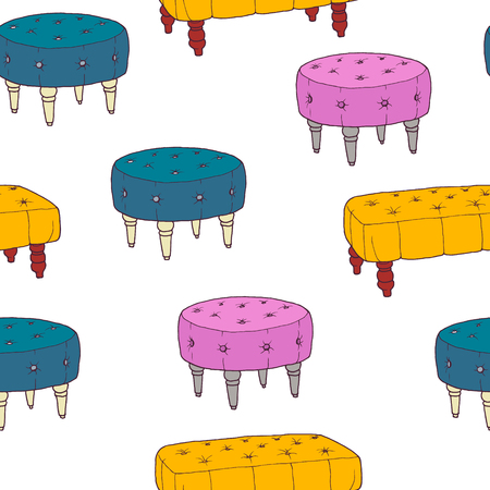 the footstool: Seamless pattern with old ottoman hand drawn chair. Vector illustration isolated on white background. Banquette bench collection for creative design. Decorative couch - yellow, pink, magenta, turquoise blue.