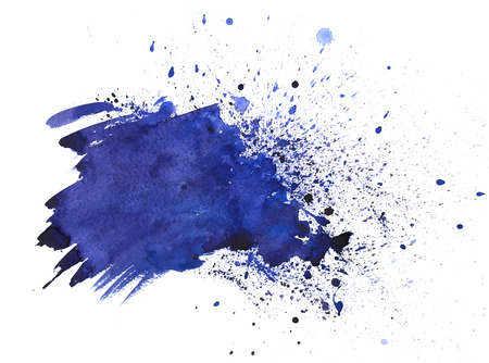 Hand drawn watercolor navy blue, indigo texture background isolated on white. Abstract blot, splash with blobs and strokes. Grunge banner