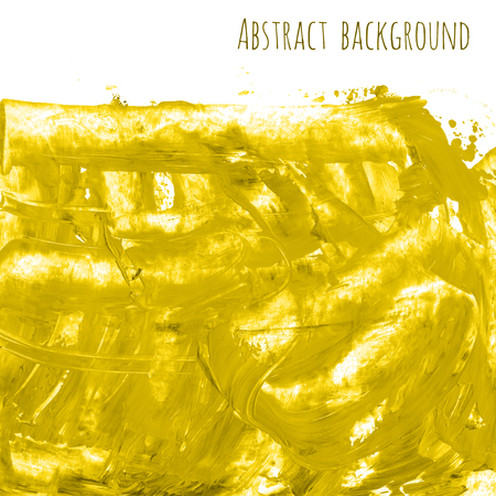 Yellow, golden marble watercolor texture background with dry brush stains, strokes and spots isolated on white.
