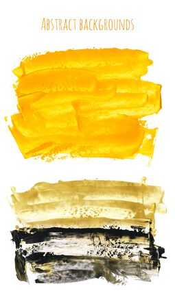 Set of yellow, gold, black watercolor hand painted texture backgrounds isolated on white. Abstract collection of acrylic dry brush strokes, stains, spots, blots. Creative grunge frame, illustration, drawing.