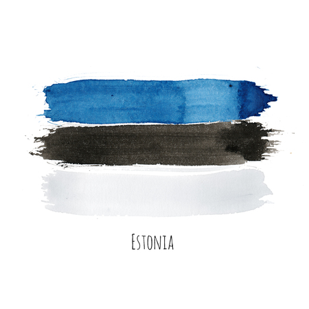 Estonia watercolor national country flag icon. Hand drawn illustration with colorful dry brush stains, strokes and spots isolated on white background. Painted grunge style texture for posters, banner design. Фото со стока