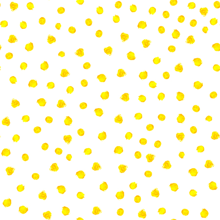 Yellow watercolor hand painted polka dot seamless pattern on white background. Gold circles, confetti glitter round texture. Abstract illustration for fabric textile, design greeting cards.