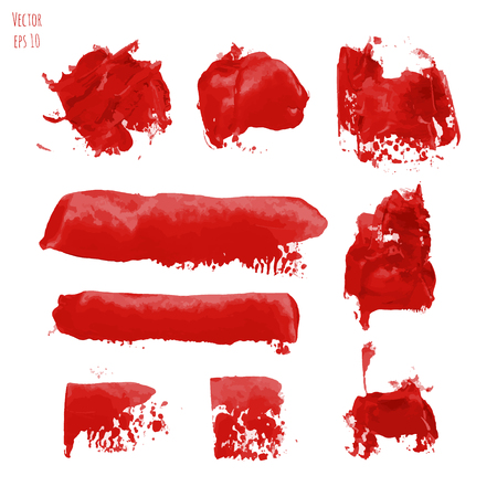 Set of bloody red vector watercolor hand painting dry brush stroke textures. Collection of grunge stains, splash, spot, drops design elements isolated on white background. Gouache, acrylic art abstract illustration. Illustration