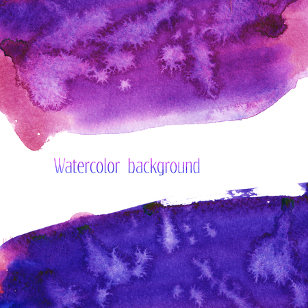 nighttime: Universe blue, violet, purple, magenta watercolor texture background. Space, cosmos, galaxy hand painted illustration with dry brush strokes, stains, spots, splashes. Abstract frame, place for logo or text.