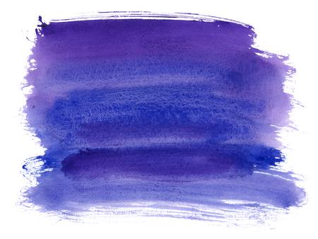 ネイビー ブルー、インディゴの水彩テクスチャ背景にドライブラシ汚れ、ストローク、白で隔離のスポット。抽象芸術的なフレーム、テキストまた