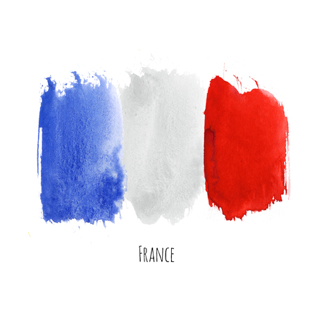 france painted: France watercolor national country flag icon. Hand drawn illustration with colorful dry brush stains, strokes and spots isolated on white background. Painted grunge style texture for posters, banner design. Stock Photo