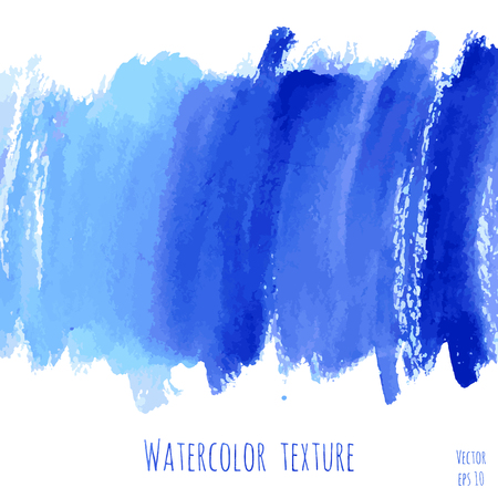 drops of water: Turquoise blue, indigo vector watercolor texture background with dry brush stains, strokes and spots isolated on white.