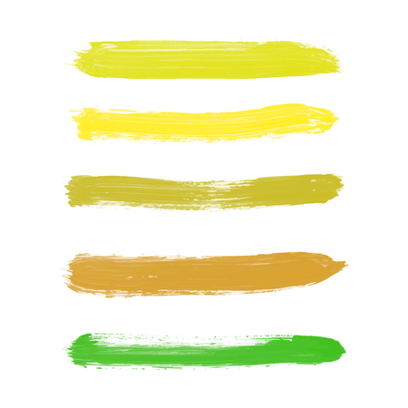 Set of yellow, goldenrod, chartreuse, mustard, olive, green, brown vector watercolor hand painted gradient stripes isolated on white background. Collection of acrylic dry brush stains, strokes, geometric horizontal lines. Creative illustration frame for d