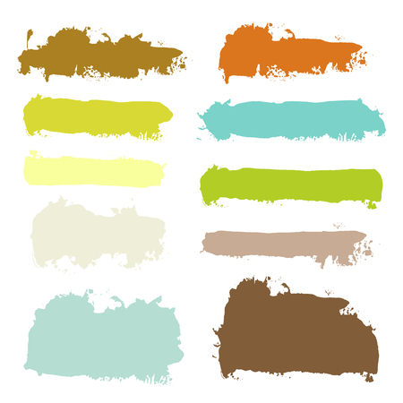 Vector grunge watercolor ink texture set of hand painted pastel powder color dry brush splashes, strokes, stains, spots, elements, stripes, lines, templates, dirty geometric shapes. Abstract collection of acrylic backgrounds isolated on white for design c