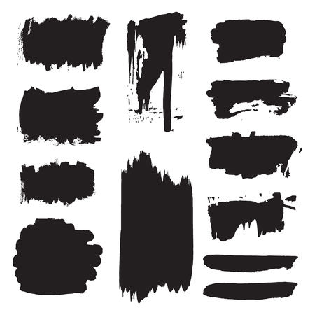 Vector dark black grunge watercolor, ink texture set of hand painted dry brush splashes, strokes, stains, spots, blots, stripes, lines, dividers, labels, templates, dirty shapes. Abstract collection of acrylic, backgrounds isolated on white. Creative fram Illustration