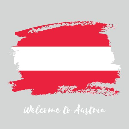 Austria vector watercolor national country flag icon. Hand drawn illustration with dry brush stains, strokes, spots isolated on gray background.