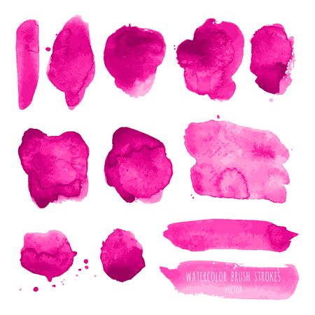 Pink, rose, magenta vector watercolor hand painting dry brush stroke texture kit. Abstract grunge collection. Set of acrylic stains, spots, lines isolated on white background. Makeup frame design.