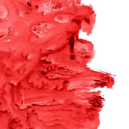 A Vector bloody red, rose watercolor texture background with dry brush stains, strokes, spots isolated on white. Abstract artistic frame, place for text or logo. Acrylic hand painted gradient backdrop.