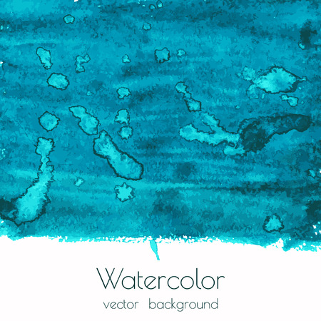 water splash isolated on white background: Vector blue green watercolor texture background with dry brush stains, strokes and spots isolated on white. Abstract artistic grunge frame, place for text or logo. Acrylic hand painted backdrop. Illustration