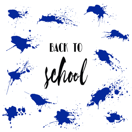 school class: Set of back to school ink watercolor navy blue splash blots badges. Autumn vector tag, dry brush stroke pattern, university logo, stamp. Calligraphic hand written design label, typography, lettering.