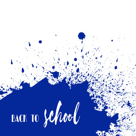 ink stain: Back to school ink watercolor navy blue splash blots background. Autumn vector tag, dry brush stroke pattern, university logo, stamp. Calligraphic hand written design label, typography, lettering. Illustration