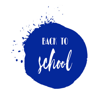 school class: Back to school ink watercolor navy blue splash blots badge. Autumn vector tag, dry brush stroke pattern, university logo, stamp. Calligraphic hand written design label, typography, lettering.