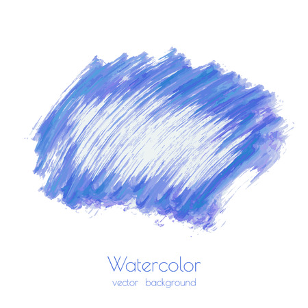 Turquoise navy blue, indigo vector watercolor texture background with dry brush stains, strokes, spots isolated on white. Abstract artistic frame, place for text. Acrylic hand painted backdrop. Ilustração