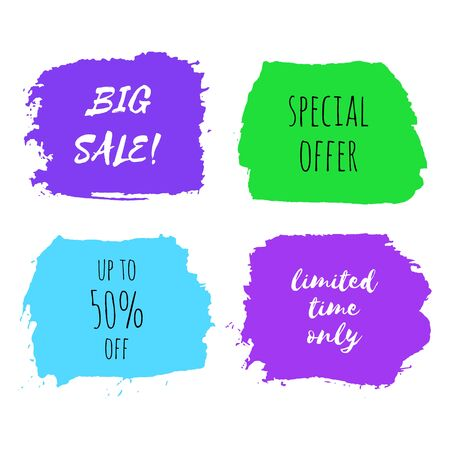 Set of big sale, special offer, limited time only design templates. Collection of banners, badge, tag for shop, market, package. Hand drawn lettering card, watercolor dry brush stroke.
