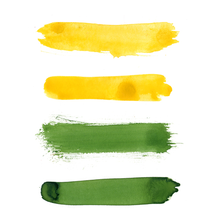 Set of yellow, grass green watercolor hand painted stripes isolated on white background. Collection of acrylic dry brush stains, strokes, geometric horizontal lines. Creative illustration frame design Stock Photo