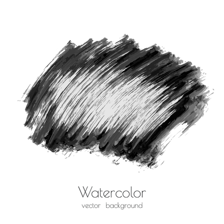 Dark black vector watercolor hand painted texture background isolated on white. Abstract acrylic dry brush splash, strokes, stains, spots, blot, scribble, smudge. Creative grunge illustration, drawing