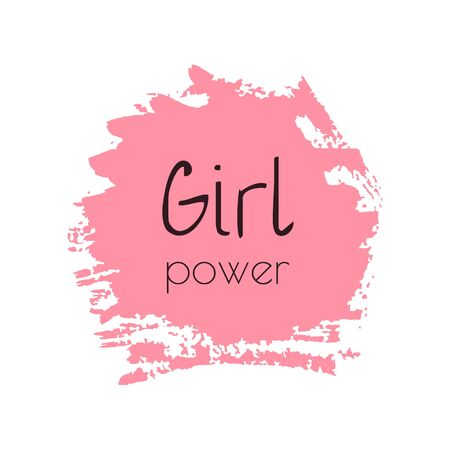 Girl Power lettering on a pink blot 向量圖像
