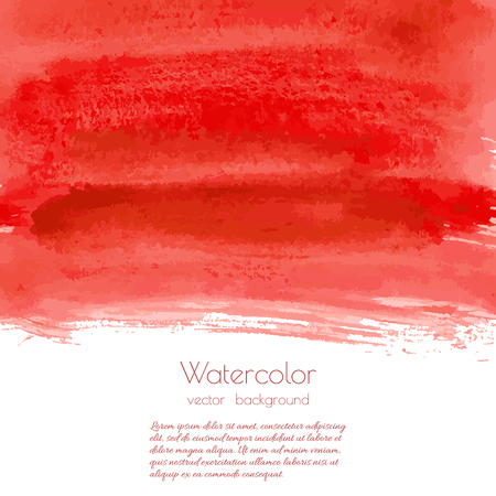 Vector bloody red, rose watercolor texture background with dry brush stains, strokes, spots isolated on white. Abstract artistic frame, place for text or logo. Acrylic hand painted gradient backdrop. Illustration