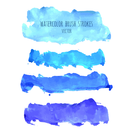 Set of vector navy, turquoise blue watercolor hand painted texture backgrounds isolated on white. Abstract collection of fluid ink, acrylic pours, dry brush strokes, stains, spots, blots, elements.