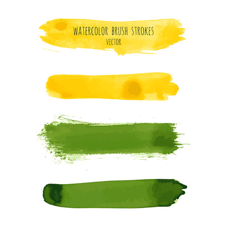 Set of yellow, goldenrod, grass green vector watercolor hand painted gradient stripes isolated on white background. Acrylic dry brush stains, strokes, geometric horizontal lines. Fluid art. Vetores