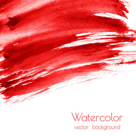 Vector bloody red, rose watercolor texture background with dry brush stains, strokes, spots isolated on white. Abstract artistic frame, place for text or logo. Acrylic hand painted gradient backdrop. 일러스트