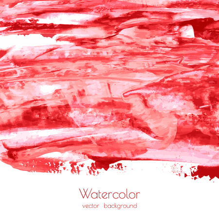 Vector bloody red, rose watercolor texture background with dry brush stains, strokes, spots isolated on white. Abstract artistic frame, place for text or logo. Acrylic hand painted gradient backdrop. Ilustração