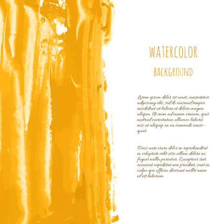 Golden vector hand paint ink texture background, watercolor dry brush stains, strokes, spots, smudge isolated on white. Abstract mixed fluid art. Illustration for wedding invitation, greeting card.