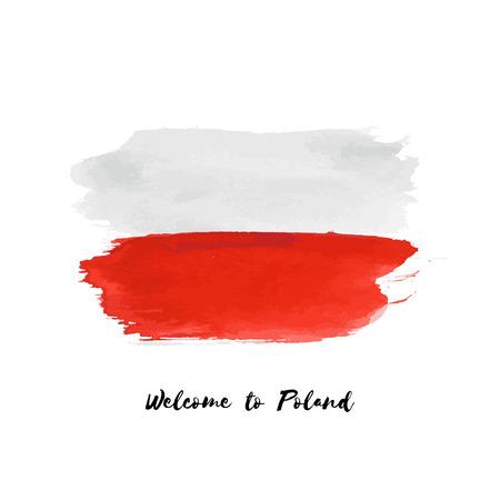 Polska akwarela flaga narodowa wektor ikona. Ręcznie rysowane suchym pędzlem plamy, obrysy, plamy na białym tle. Malowane tekstury ilustracja styl grunge na plakaty, projektowanie banerów.