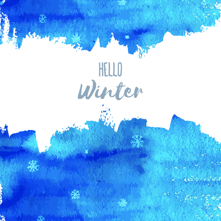 Hello Winter. Vector hand paint blue watercolor texture with snowflakes isolated on white background. Ink dry brush stains, strokes, splash, smudge. Merry Christmas and Happy New Year poster design.