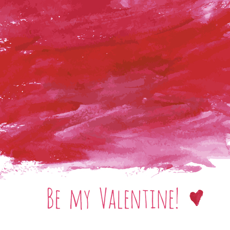 Be my Valentine! Red watercolor hand drawn texture frame backdrop with heart for greeting card design. Painted illustration for romantic wallpaper or wedding background. Place for text or logo.
