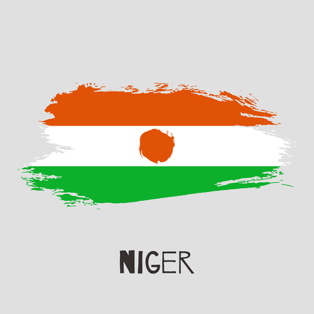 Niger vector watercolor national country flag icon. Hand drawn illustration with dry brush stains, strokes, spots isolated on gray background. Painted grunge style texture for posters, banner design. Vector Illustration